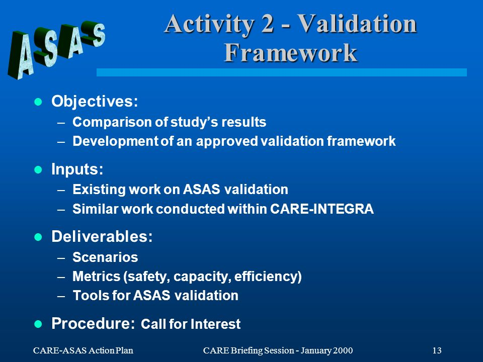 CARE-ASAS Action PlanCARE Briefing Session - January 200013 Activity 2 - Validation Framework Objectives: –Comparison of studys results –Development o