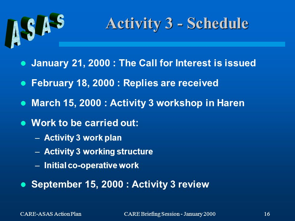 CARE-ASAS Action PlanCARE Briefing Session - January Activity 3 - Schedule January 21, 2000 : The Call for Interest is issued February 18, 2000 : Replies are received March 15, 2000 : Activity 3 workshop in Haren Work to be carried out: –Activity 3 work plan –Activity 3 working structure –Initial co-operative work September 15, 2000 : Activity 3 review