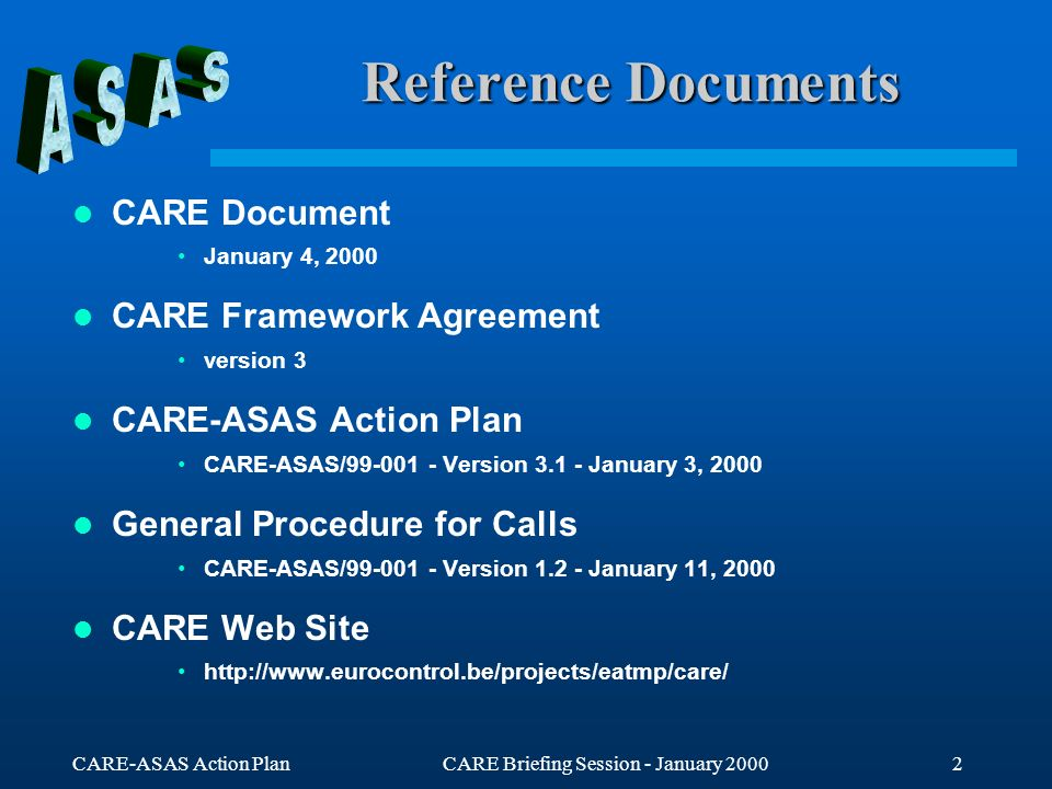 CARE-ASAS Action PlanCARE Briefing Session - January 20003 CARE-ASAS Objectives Promote co-operative work on ASAS within Europe Establish a common view on ASAS applications Support the validation of the strategic line of action related to transfer of separation responsibility to the cockpit identified in the ATM Strategy for 2000+ Make the best use of the wide range of competencies which are required to address all the issues Avoid the duplication of R&D efforts