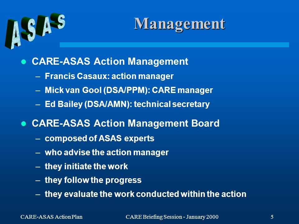 CARE-ASAS Action PlanCARE Briefing Session - January 20005 Management CARE-ASAS Action Management –Francis Casaux: action manager –Mick van Gool (DSA/