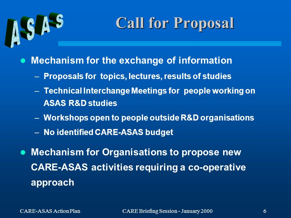 CARE-ASAS Action PlanCARE Briefing Session - January Call for Proposal Mechanism for the exchange of information –Proposals for topics, lectures, results of studies –Technical Interchange Meetings for people working on ASAS R&D studies –Workshops open to people outside R&D organisations –No identified CARE-ASAS budget Mechanism for Organisations to propose new CARE-ASAS activities requiring a co-operative approach