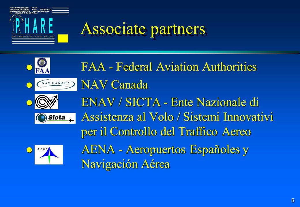 5 Associate partners l FAA - Federal Aviation Authorities l NAV Canada l ENAV / SICTA - Ente Nazionale di Assistenza al Volo / Sistemi Innovativi per il Controllo del Traffico Aereo l AENA - Aeropuertos Españoles y Navigación Aérea