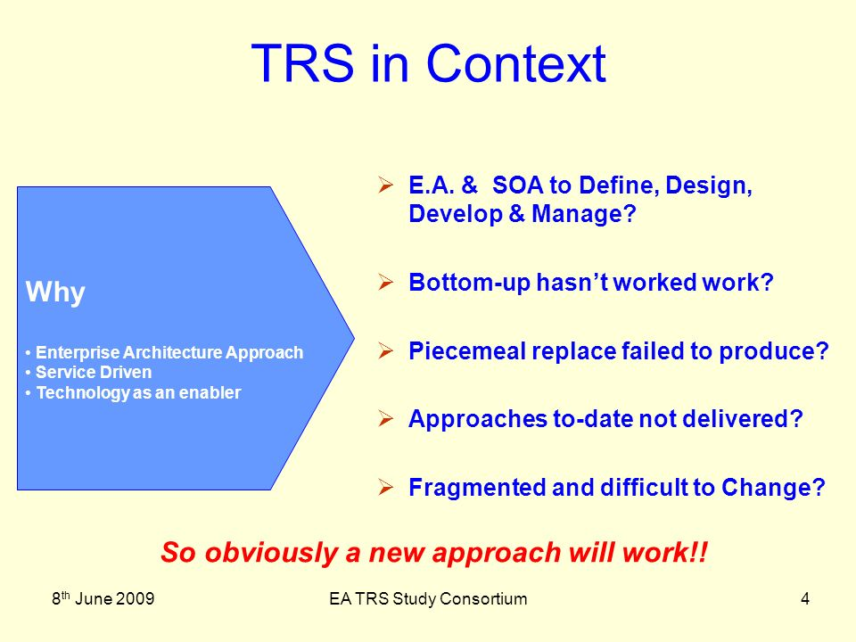 8 th June 2009EA TRS Study Consortium25 Conclusions & Summary Bite sized Iteration and Parallel work Delivering Services & Process not Technology Planning Reflects this Customer Control Governance, Planning and Management are Key