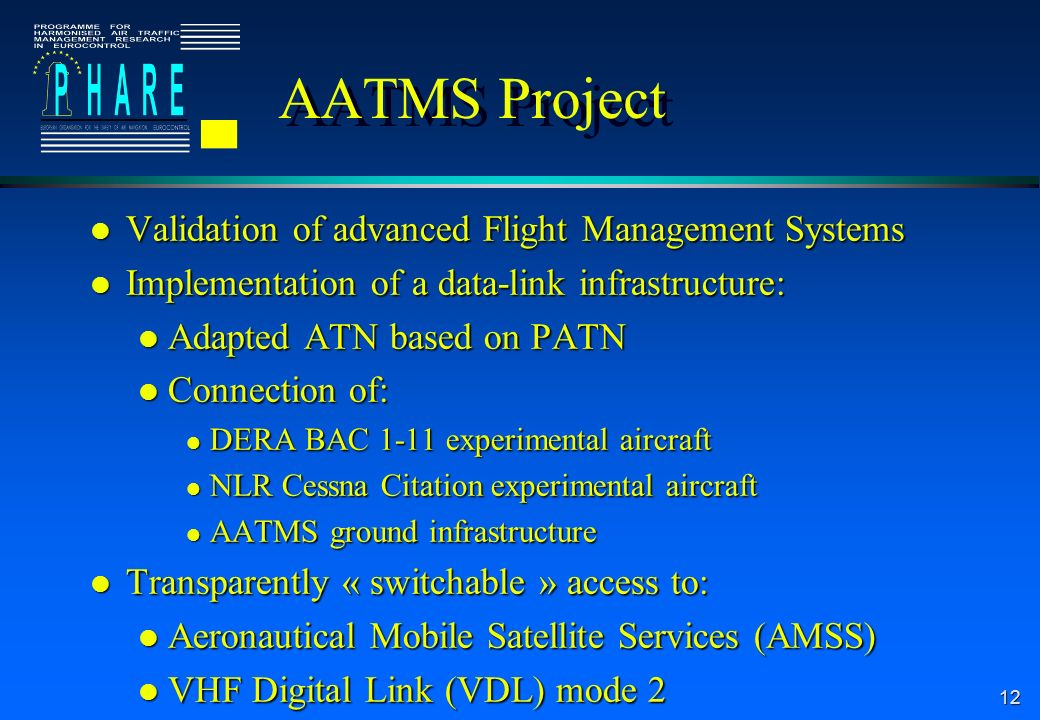 12 AATMS Project l Validation of advanced Flight Management Systems l Implementation of a data-link infrastructure: l Adapted ATN based on PATN l Connection of: l DERA BAC 1-11 experimental aircraft l NLR Cessna Citation experimental aircraft l AATMS ground infrastructure l Transparently « switchable » access to: l Aeronautical Mobile Satellite Services (AMSS) l VHF Digital Link (VDL) mode 2