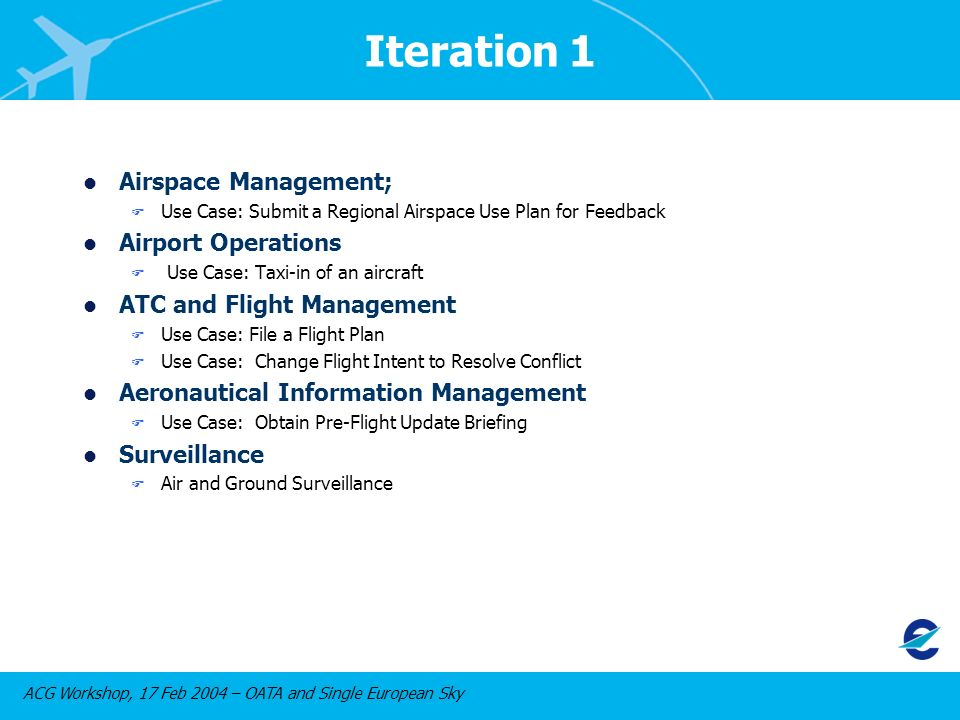 ACG Workshop, 17 Feb 2004 – OATA and Single European Sky Iteration 1 l Airspace Management; F Use Case: Submit a Regional Airspace Use Plan for Feedback l Airport Operations F Use Case: Taxi-in of an aircraft l ATC and Flight Management F Use Case: File a Flight Plan F Use Case: Change Flight Intent to Resolve Conflict l Aeronautical Information Management F Use Case: Obtain Pre-Flight Update Briefing l Surveillance F Air and Ground Surveillance