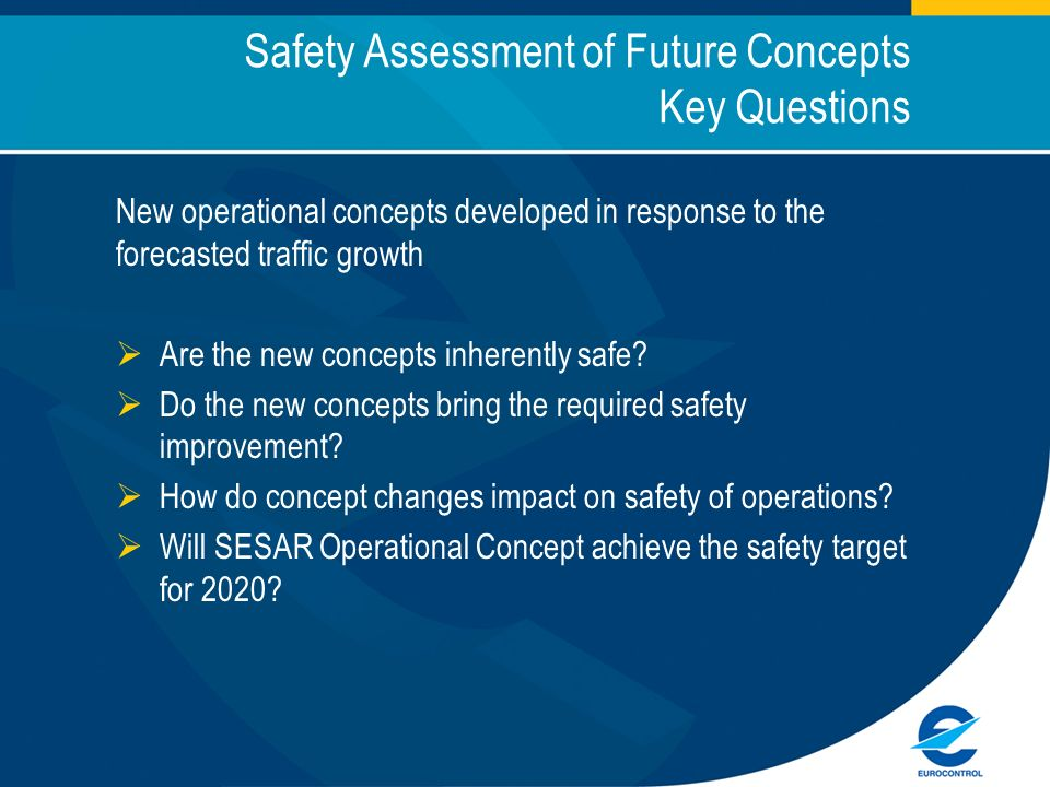 Safety Assessment of Future Concepts Key Questions New operational concepts developed in response to the forecasted traffic growth Are the new concepts inherently safe.