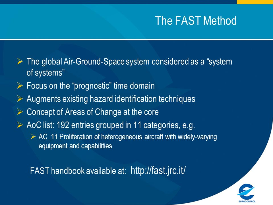The FAST Method The global Air-Ground-Space system considered as a system of systems Focus on the prognostic time domain Augments existing hazard identification techniques Concept of Areas of Change at the core AoC list: 192 entries grouped in 11 categories, e.g.
