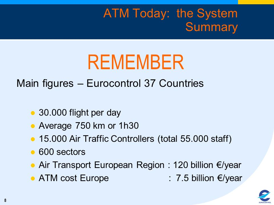 8 REMEMBER Main figures – Eurocontrol 37 Countries 30.000 flight per day Average 750 km or 1h30 15.000 Air Traffic Controllers (total 55.000 staff) 60