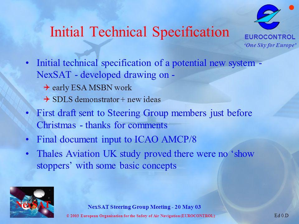 One Sky for Europe EUROCONTROL © 2003 European Organisation for the Safety of Air Navigation (EUROCONTROL) NexSAT NexSAT Steering Group Meeting - 20 M