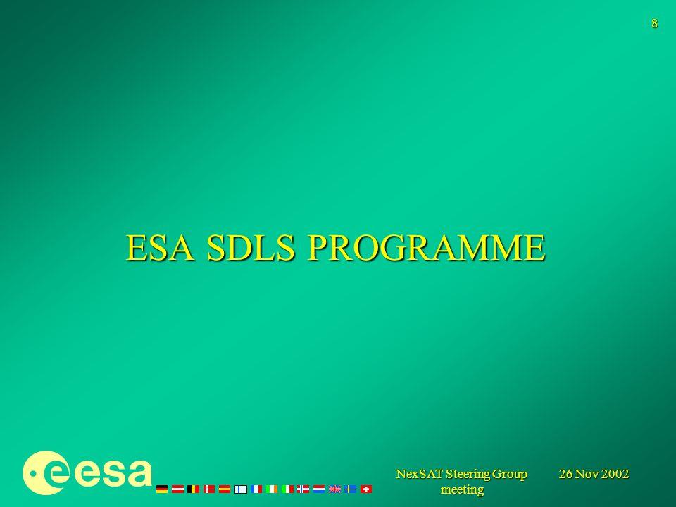 26 Nov 2002 NexSAT Steering Group meeting 8 ESA SDLS PROGRAMME