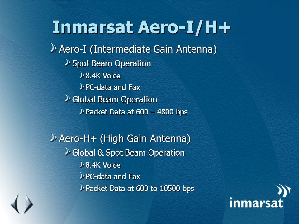 Inmarsat Aero-I/H+ Aero-I (Intermediate Gain Antenna) Spot Beam Operation 8.4K Voice PC-data and Fax Global Beam Operation Packet Data at 600 – 4800 b