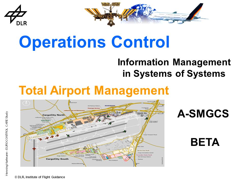 © DLR, Institute of Flight Guidance Henning Hartmann – EUROCONTROL CARE Study Operations Control Information Management in Systems of Systems A-SMGCS Total Airport Management BETA