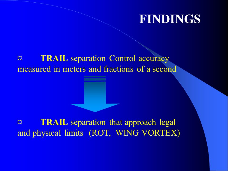 ¤TRAIL separation Control accuracy measured in meters and fractions of a second ¤TRAIL separation that approach legal and physical limits (ROT, WING VORTEX) FINDINGS