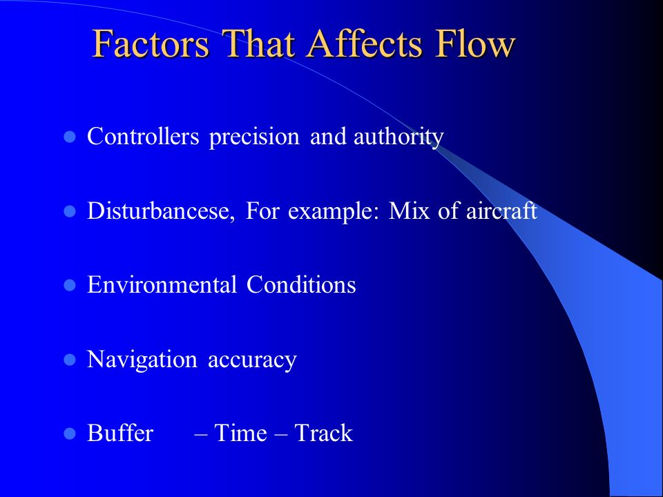 Factors That Affects Flow Controllers precision and authority Disturbancese, For example: Mix of aircraft Environmental Conditions Navigation accuracy Buffer – Time – Track