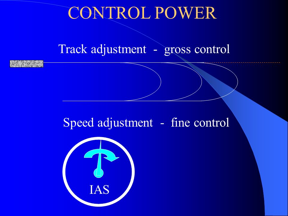 Track adjustment - gross control IAS Speed adjustment - fine control CONTROL POWER