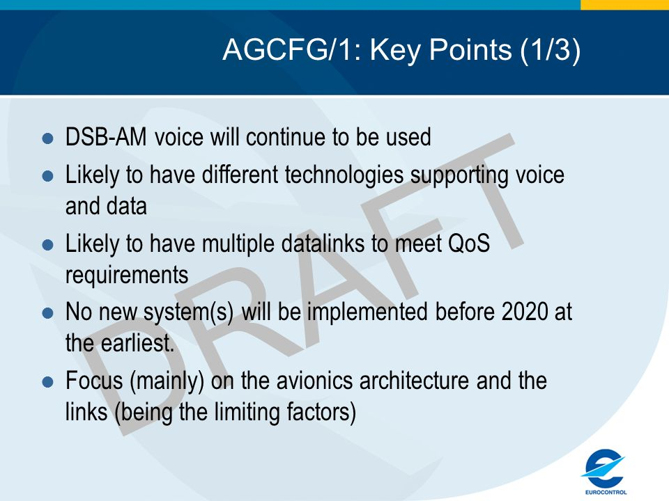DRAFT AGCFG/1: Key Points (1/3) DSB-AM voice will continue to be used Likely to have different technologies supporting voice and data Likely to have m
