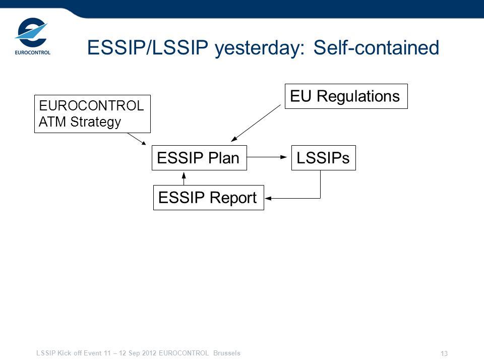 LSSIP Kick off Event 11 – 12 Sep 2012 EUROCONTROL Brussels 13 ESSIP/LSSIP yesterday: Self-contained EU Regulations EUROCONTROL ATM Strategy ESSIP Plan ESSIP Report LSSIPs