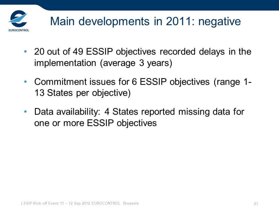 LSSIP Kick off Event 11 – 12 Sep 2012 EUROCONTROL Brussels 23 Main developments in 2011: negative 20 out of 49 ESSIP objectives recorded delays in the
