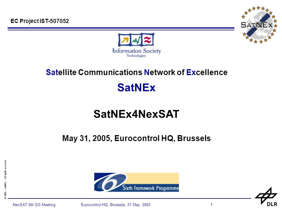 © 2005 - SatNEx - All rights reserved 1NexSAT 6th SG Meeting Eurocontrol HQ, Brussels, 31 May 2005 Satellite Communications Network of Excellence SatNEx SatNEx4NexSAT May 31, 2005, Eurocontrol HQ, Brussels EC Project IST-507052