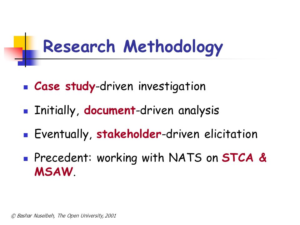 © Bashar Nuseibeh, The Open University, 2001 Research Methodology Case study-driven investigation Initially, document-driven analysis Eventually, stak