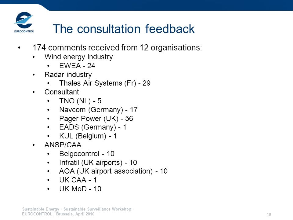 Sustainable Energy - Sustainable Surveillance Workshop - EUROCONTROL, Brussels, April The consultation feedback 174 comments received from 12 organisations: Wind energy industry EWEA - 24 Radar industry Thales Air Systems (Fr) - 29 Consultant TNO (NL) - 5 Navcom (Germany) - 17 Pager Power (UK) - 56 EADS (Germany) - 1 KUL (Belgium) - 1 ANSP/CAA Belgocontrol - 10 Infratil (UK airports) - 10 AOA (UK airport association) - 10 UK CAA - 1 UK MoD - 10