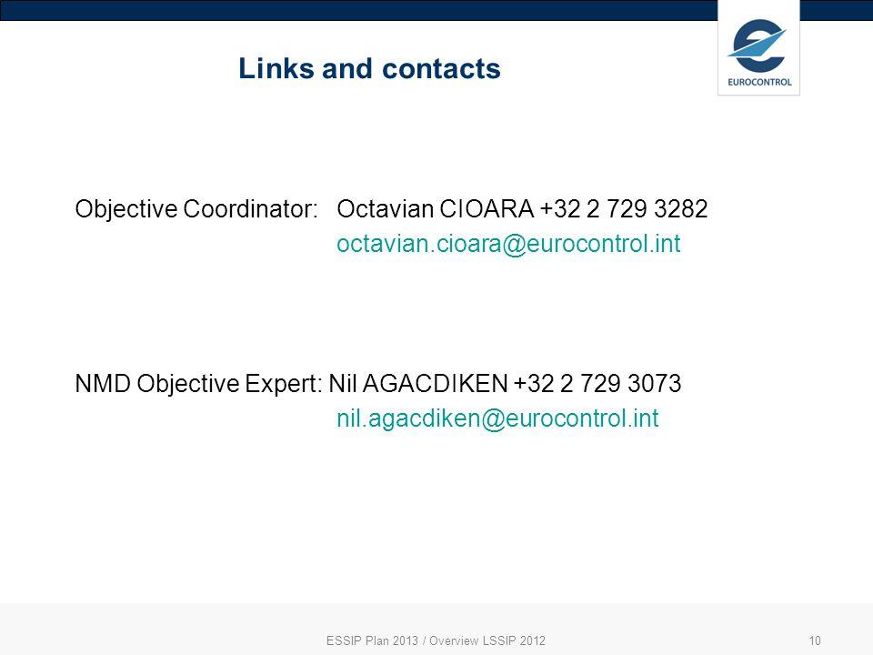 Links and contacts ESSIP Plan 2013 / Overview LSSIP 201210 Objective Coordinator: Octavian CIOARA +32 2 729 3282 octavian.cioara@eurocontrol.int NMD Objective Expert: Nil AGACDIKEN +32 2 729 3073 nil.agacdiken@eurocontrol.int