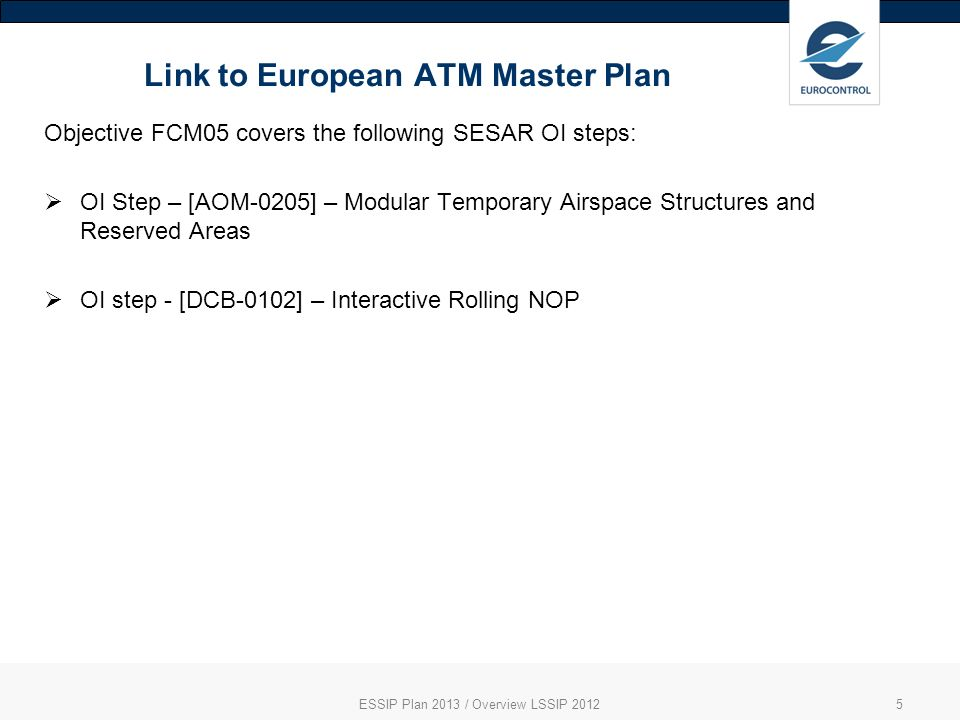 Link to European ATM Master Plan ESSIP Plan 2013 / Overview LSSIP 20125 Objective FCM05 covers the following SESAR OI steps: OI Step – [AOM-0205] – Modular Temporary Airspace Structures and Reserved Areas OI step - [DCB-0102] – Interactive Rolling NOP