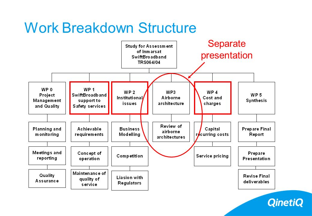 Work Breakdown Structure Separate presentation