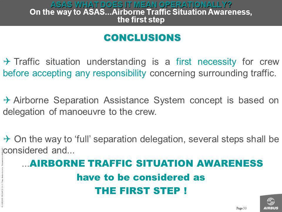 © AIRBUS FRANCE S.A.S. Tous droits réservés. Document confidentiel. Page 30 ASAS WHAT DOES IT MEAN OPERATIONALLY? ASAS WHAT DOES IT MEAN OPERATIONALLY