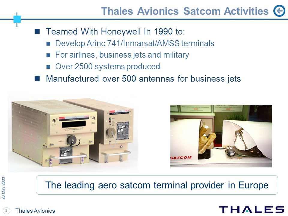 2 20 May 2003 Thales Avionics Thales Avionics Satcom Activities Teamed With Honeywell In 1990 to: Develop Arinc 741/Inmarsat/AMSS terminals For airlin