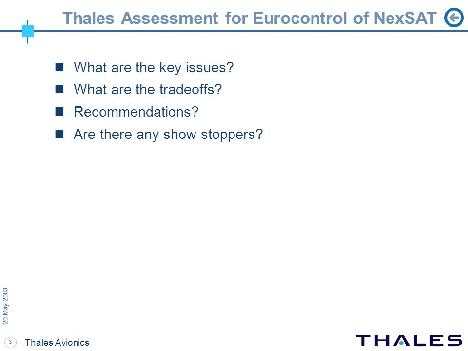 3 20 May 2003 Thales Avionics Thales Assessment for Eurocontrol of NexSAT What are the key issues? What are the tradeoffs? Recommendations? Are there