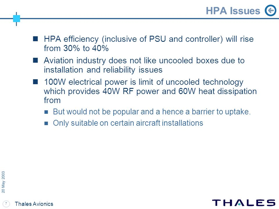 7 20 May 2003 Thales Avionics HPA Issues HPA efficiency (inclusive of PSU and controller) will rise from 30% to 40% Aviation industry does not like un