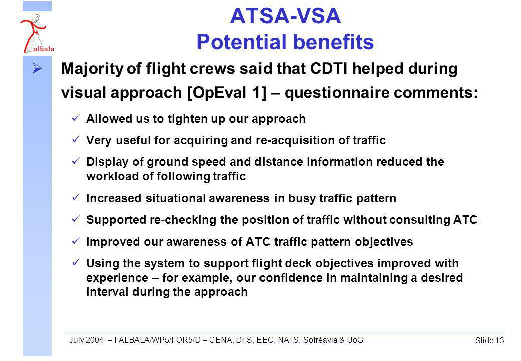 Slide 13 July 2004 – FALBALA/WP5/FOR5/D – CENA, DFS, EEC, NATS, Sofréavia & UoG ATSA-VSA Potential benefits Majority of flight crews said that CDTI helped during visual approach [OpEval 1] – questionnaire comments: Allowed us to tighten up our approach Very useful for acquiring and re-acquisition of traffic Display of ground speed and distance information reduced the workload of following traffic Increased situational awareness in busy traffic pattern Supported re-checking the position of traffic without consulting ATC Improved our awareness of ATC traffic pattern objectives Using the system to support flight deck objectives improved with experience – for example, our confidence in maintaining a desired interval during the approach