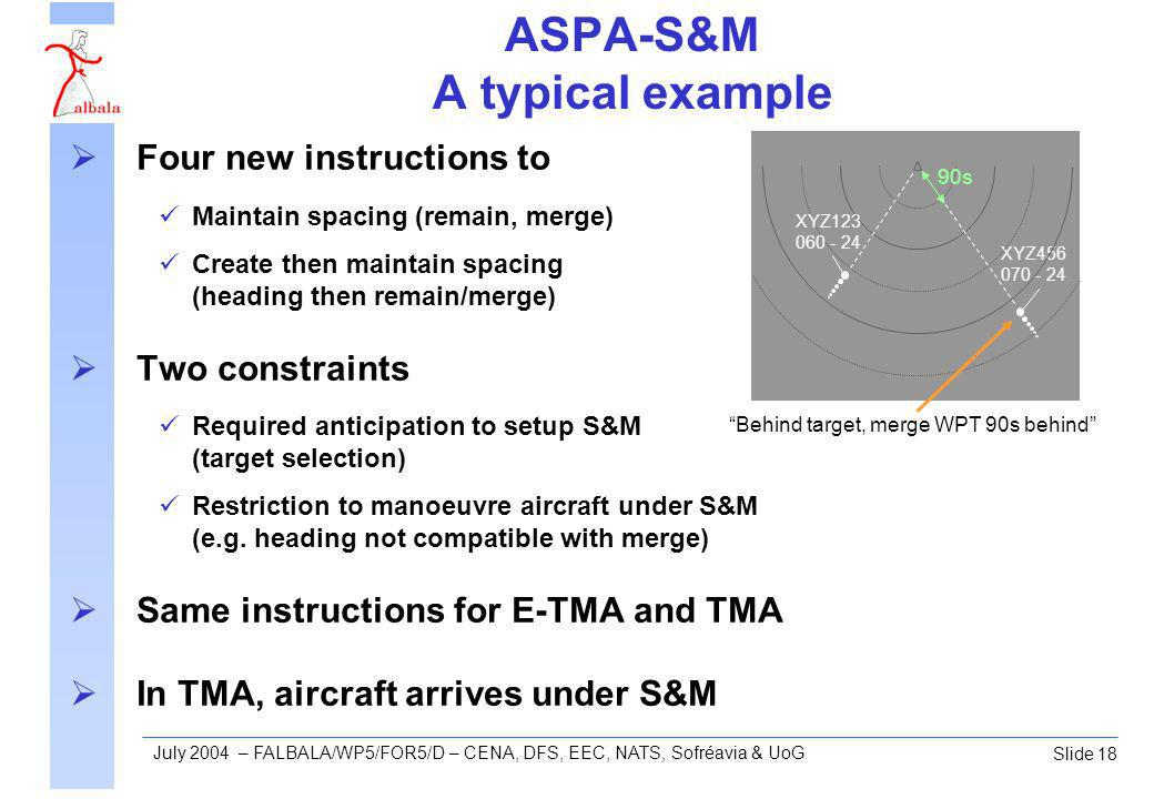 Slide 18 July 2004 – FALBALA/WP5/FOR5/D – CENA, DFS, EEC, NATS, Sofréavia & UoG ASPA-S&M A typical example Four new instructions to Maintain spacing (remain, merge) Create then maintain spacing (heading then remain/merge) Two constraints Required anticipation to setup S&M (target selection) Restriction to manoeuvre aircraft under S&M (e.g.
