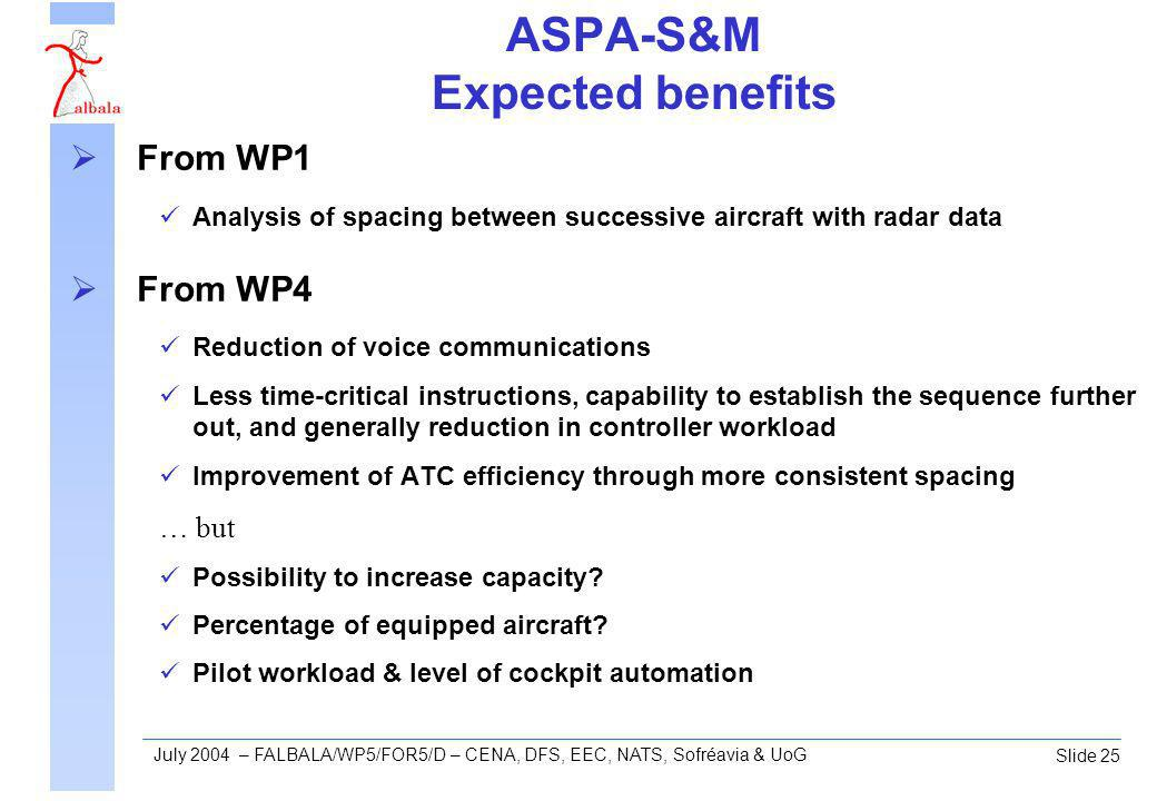 Slide 25 July 2004 – FALBALA/WP5/FOR5/D – CENA, DFS, EEC, NATS, Sofréavia & UoG ASPA-S&M Expected benefits From WP1 Analysis of spacing between successive aircraft with radar data From WP4 Reduction of voice communications Less time-critical instructions, capability to establish the sequence further out, and generally reduction in controller workload Improvement of ATC efficiency through more consistent spacing … but Possibility to increase capacity.