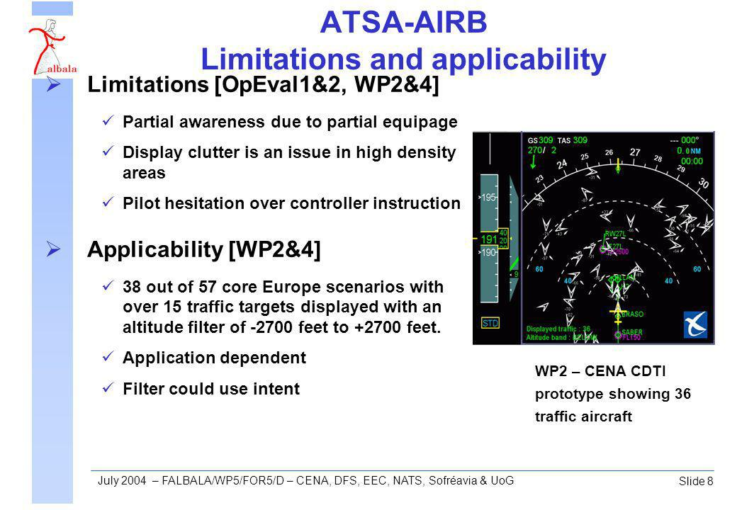 Slide 8 July 2004 – FALBALA/WP5/FOR5/D – CENA, DFS, EEC, NATS, Sofréavia & UoG ATSA-AIRB Limitations and applicability Limitations [OpEval1&2, WP2&4] Partial awareness due to partial equipage Display clutter is an issue in high density areas Pilot hesitation over controller instruction Applicability [WP2&4] 38 out of 57 core Europe scenarios with over 15 traffic targets displayed with an altitude filter of -2700 feet to +2700 feet.