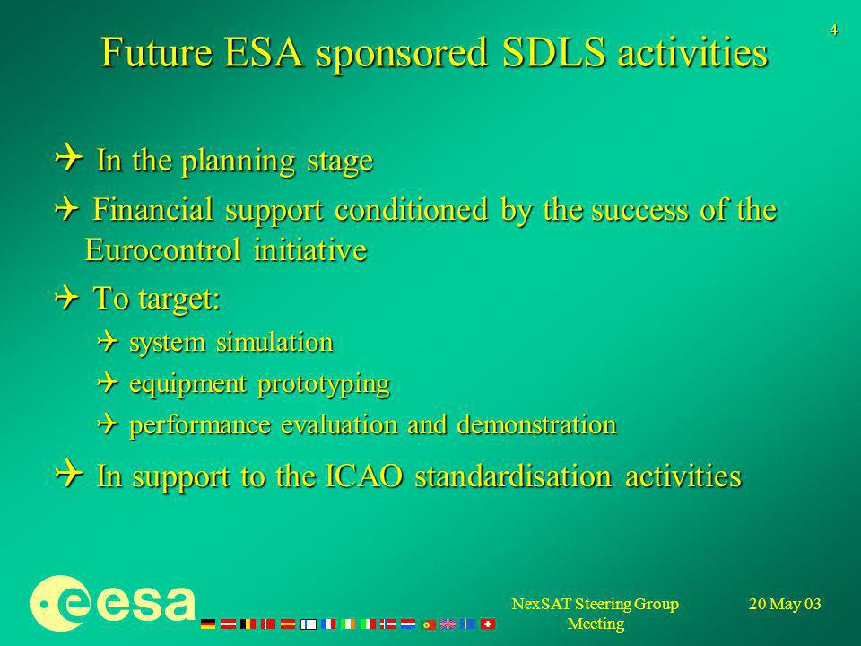 NexSAT Steering Group Meeting 20 May 03 4 Future ESA sponsored SDLS activities In the planning stage In the planning stage Financial support conditioned by the success of the Eurocontrol initiative Financial support conditioned by the success of the Eurocontrol initiative To target: To target: system simulation system simulation equipment prototyping equipment prototyping performance evaluation and demonstration performance evaluation and demonstration In support to the ICAO standardisation activities In support to the ICAO standardisation activities