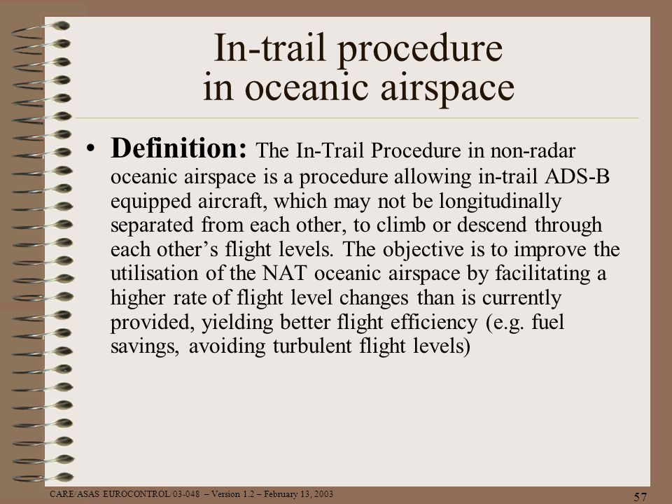CARE/ASAS EUROCONTROL/03-048 – Version 1.2 – February 13, 2003 57 In-trail procedure in oceanic airspace Definition: The In-Trail Procedure in non-rad