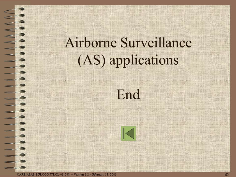 CARE/ASAS EUROCONTROL/03-048 – Version 1.2 – February 13, 2003 62 Airborne Surveillance (AS) applications End