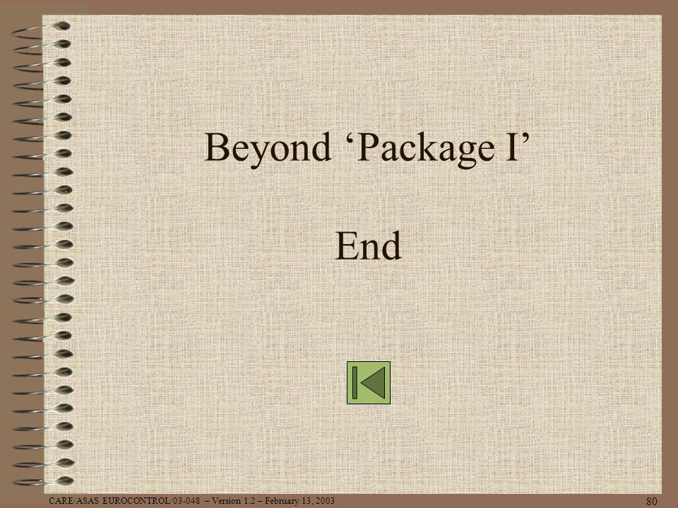CARE/ASAS EUROCONTROL/03-048 – Version 1.2 – February 13, 2003 80 Beyond Package I End