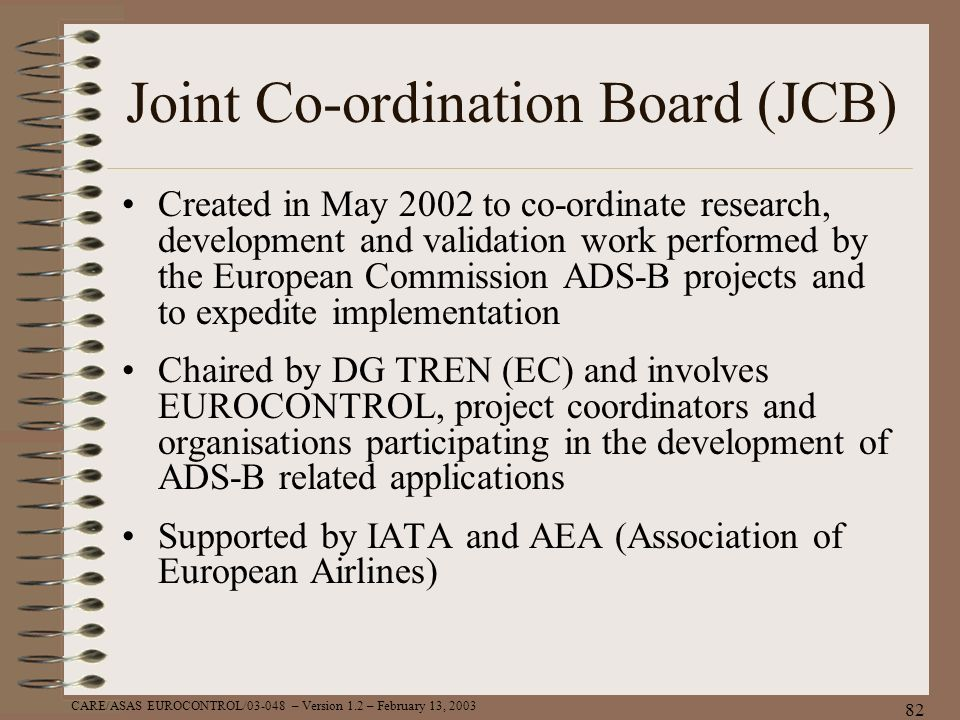 CARE/ASAS EUROCONTROL/03-048 – Version 1.2 – February 13, 2003 82 Joint Co-ordination Board (JCB) Created in May 2002 to co-ordinate research, develop