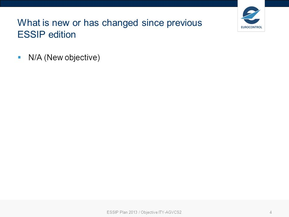 ESSIP Plan 2013 / Objective ITY-AGVCS24 What is new or has changed since previous ESSIP edition N/A (New objective)