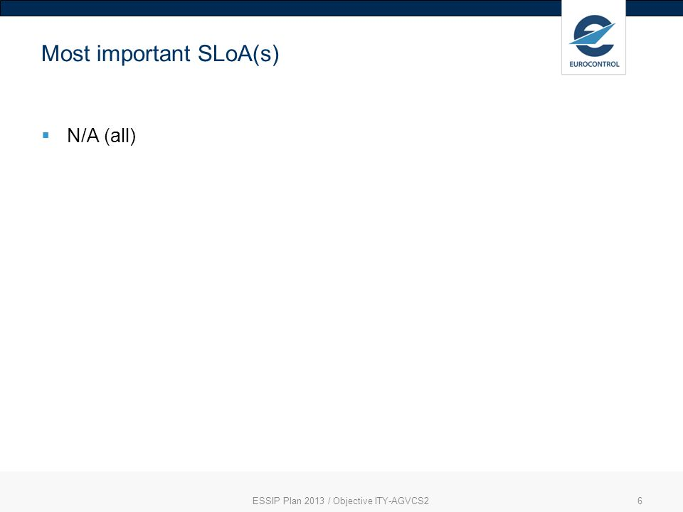 ESSIP Plan 2013 / Objective ITY-AGVCS26 Most important SLoA(s) N/A (all)