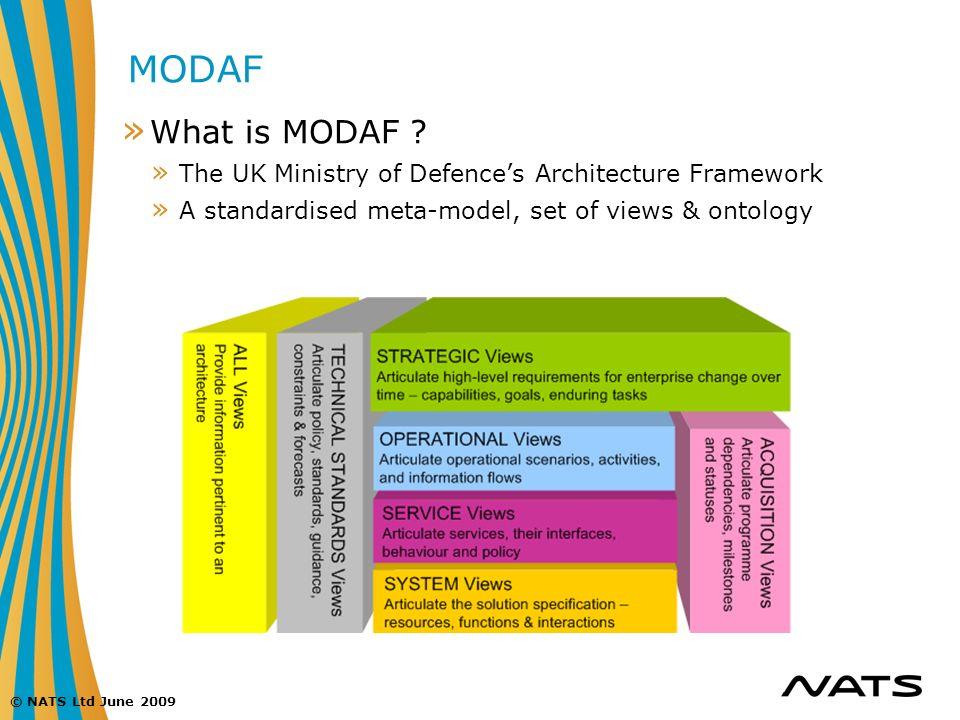 © NATS Ltd June 2009 MODAF » What is MODAF ? » The UK Ministry of Defences Architecture Framework » A standardised meta-model, set of views & ontology