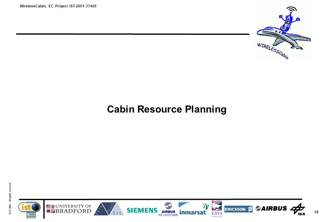 WirelessCabin, EC Project IST-2001-37466 DLR 2003, all rights reserved 18 Cabin Resource Planning