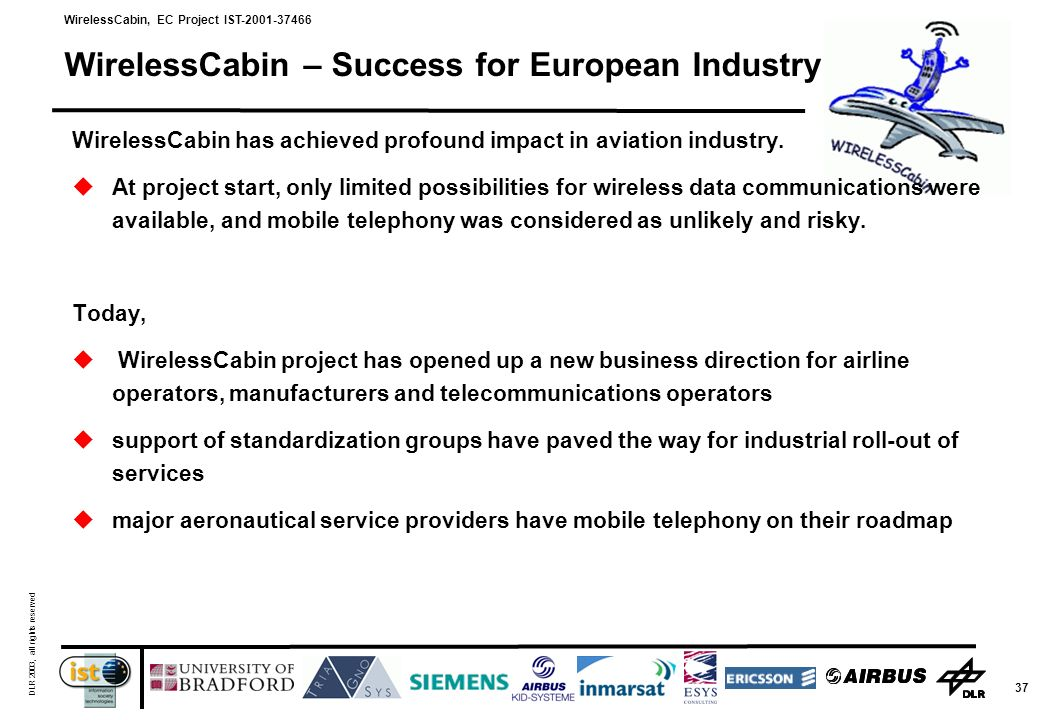 WirelessCabin, EC Project IST-2001-37466 DLR 2003, all rights reserved 37 WirelessCabin – Success for European Industry WirelessCabin has achieved profound impact in aviation industry.