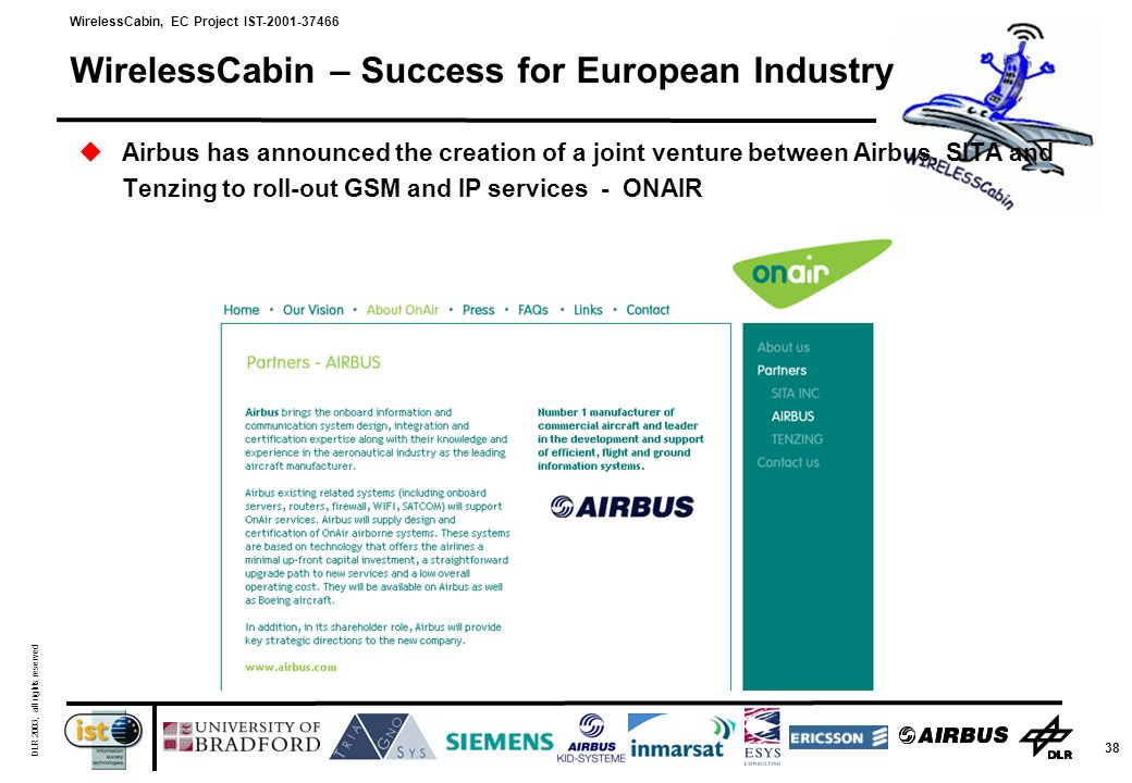 WirelessCabin, EC Project IST-2001-37466 DLR 2003, all rights reserved 38 WirelessCabin – Success for European Industry Airbus has announced the creation of a joint venture between Airbus, SITA and Tenzing to roll-out GSM and IP services - ONAIR