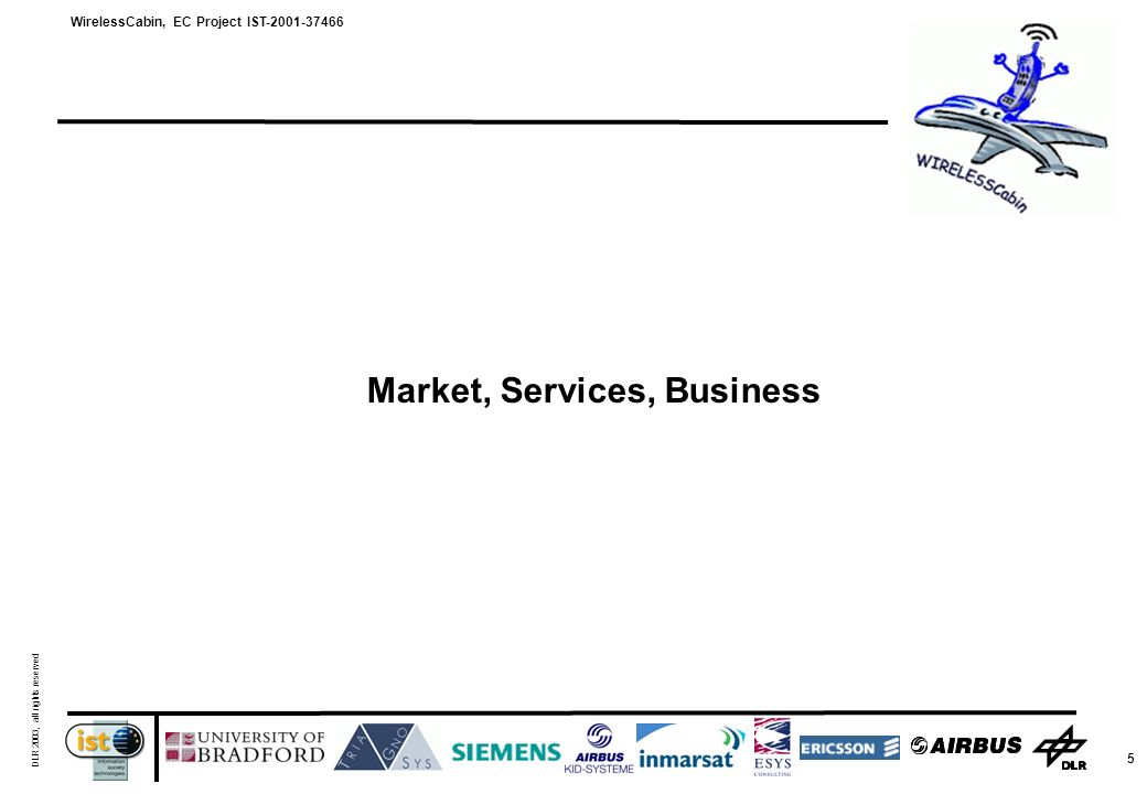 WirelessCabin, EC Project IST-2001-37466 DLR 2003, all rights reserved 5 Market, Services, Business