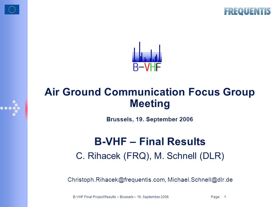 B-VHF Final Project Results – Brussels – 19.