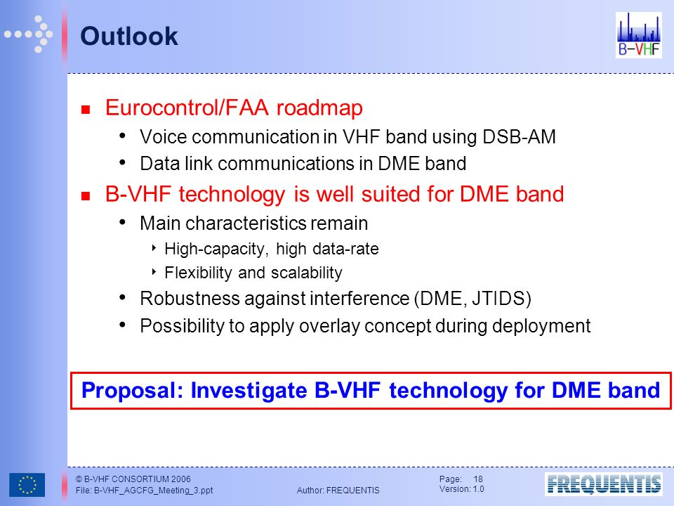 © B-VHF CONSORTIUM 2006 File: B-VHF_AGCFG_Meeting_3.ppt Author: FREQUENTIS Page: 18 Version: 1.0 Outlook Eurocontrol/FAA roadmap Voice communication in VHF band using DSB-AM Data link communications in DME band B-VHF technology is well suited for DME band Main characteristics remain High-capacity, high data-rate Flexibility and scalability Robustness against interference (DME, JTIDS) Possibility to apply overlay concept during deployment Proposal: Investigate B-VHF technology for DME band